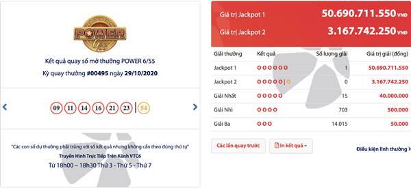 Trúng 50 Tỷ Jackpot Power 6/55 tại TP. Hồ Chí Minh