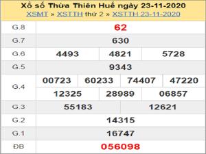 Soi cầu XSTTH 30/11/2020, chốt số Thừa Thiên Huế tỷ lệ trúng cao