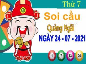 Soi cầu XSQNI ngày 24/7/2021 đài Quảng Ngãi thứ 7 hôm nay chính xác nhất